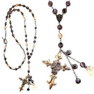 Kinley Sterling N Garnet Skull Cross Necklace